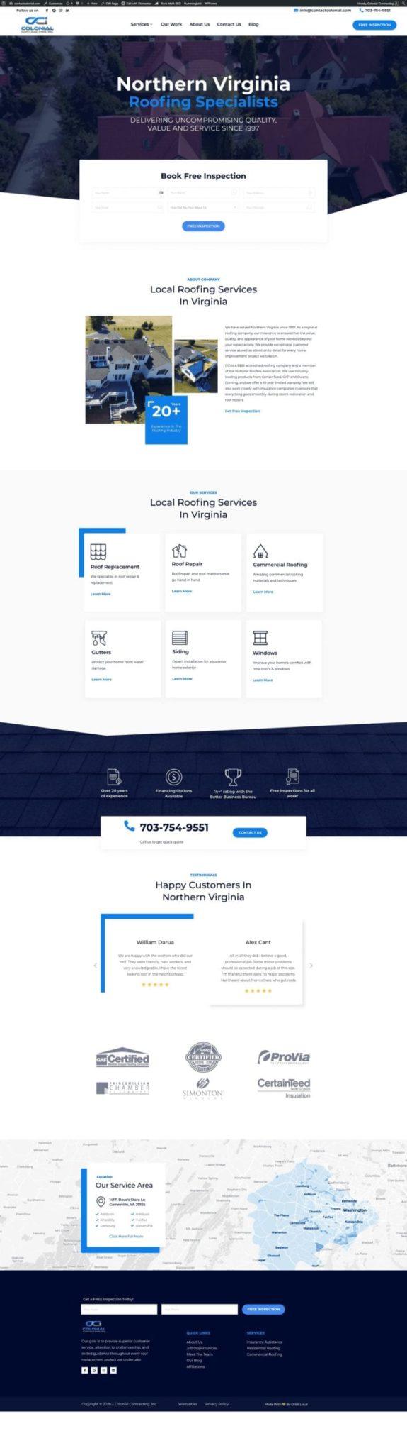 Colonial Contracting Website Design