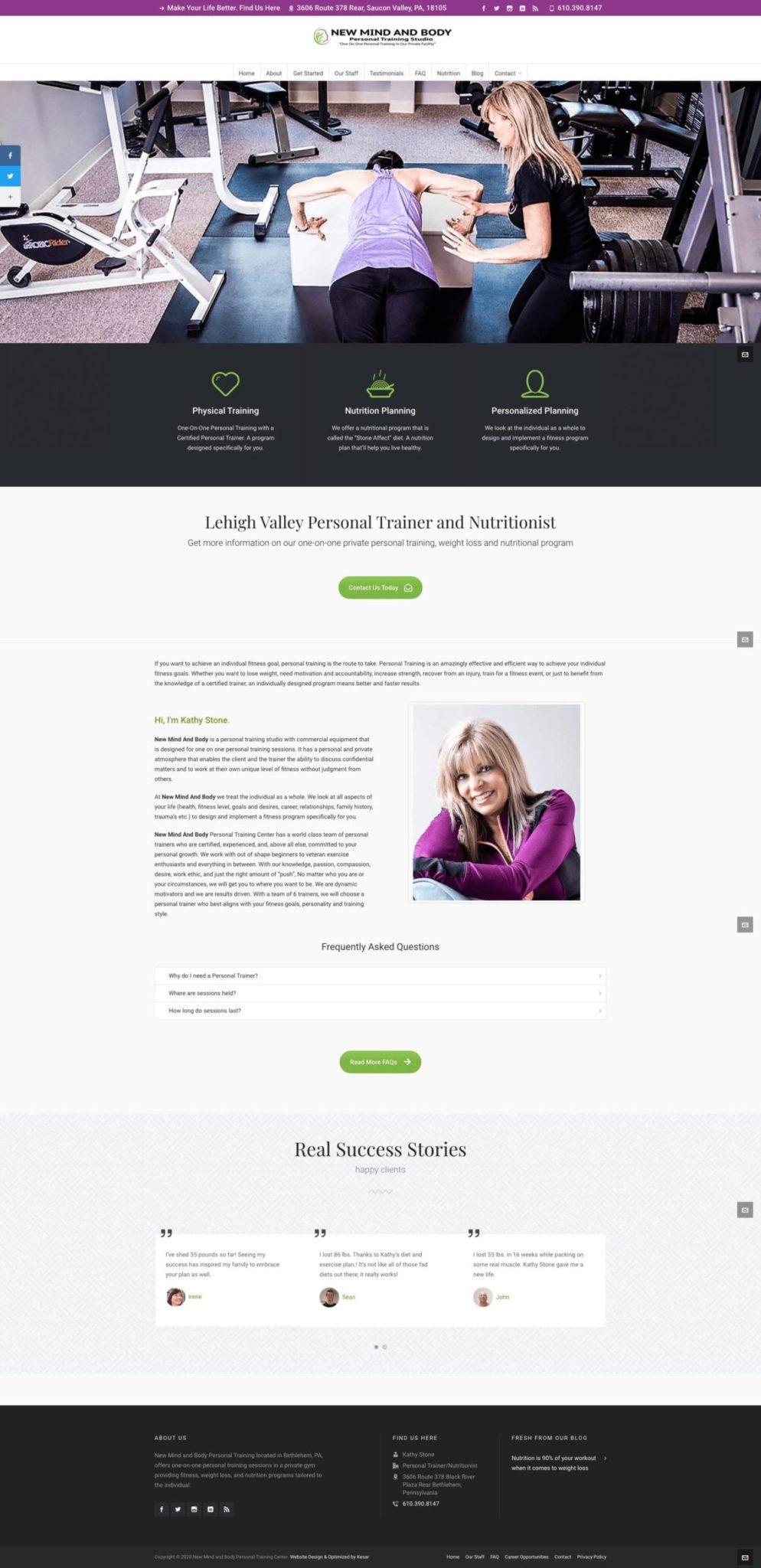 New Mind Body Personal Training Website Design