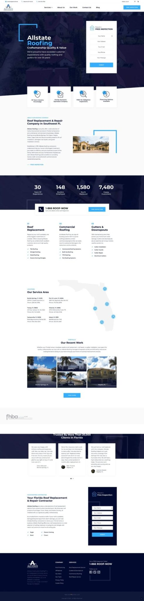Allstate Construction Roofing Website Design