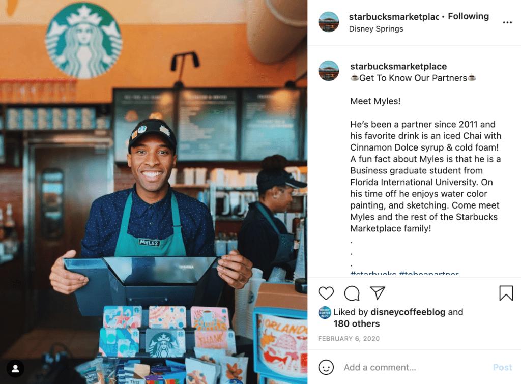 Showcase your employees to make your brand relatable on social media like Starbucks