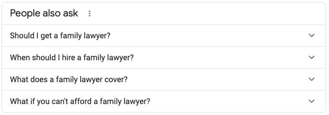 Law firm seo people also ask box
