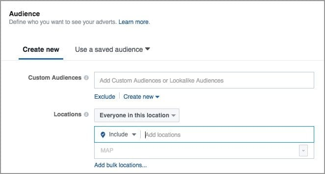 Local Awareness Ad: Select Audience